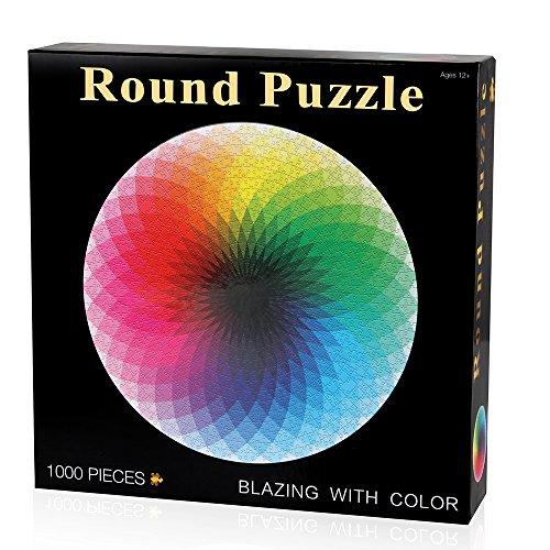 Coogam 1000 Piezas Redondo Puzzle Creativo Arco Iris Difícil Rompecabezas Grande Educativo El Alivio del Estrés Juguete para Adultos Niños