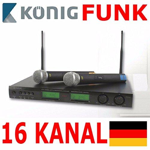 Eurosell 2 Stück Profi Wireless Funk Mikrofon Dynamisches Mic Funkmikro Empfänger Karaoke Set 16 Kanal