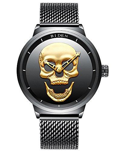 Herren Uhr 3D Luminous Schädel Totenkopf Uhr Skull Punk Rock Analoge Quarzuhr Edelstahl Mesh Armband Uhr (Schädel Ziehen)