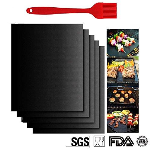 Barbecue Grill Tappetino tappetini da forno riutilizzabile in Teflon Antiaderente per grigliare carne, verdure, pesce, uova, ideale per griglia/barbecue a gas/Grill elettrico Confezione da 5