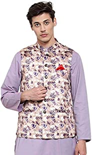 NEUDIS by Dhrohar Printed Satin Nehru Jacket/Waistcoat For Men - Brown and Purple