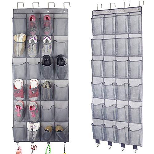 Homyfort Schuh-Organizer, zum Aufhängen an der Tür, mit 24 extra großen Netztaschen für Herren Sneaker, Frauen High Heels Schuhe, Hausschuhe mit mehr 4 Haken (180 x 56 cm)