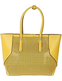 Fur Jaden Yellow Women's Laser Cut Oversized Tote Bag With Zip
