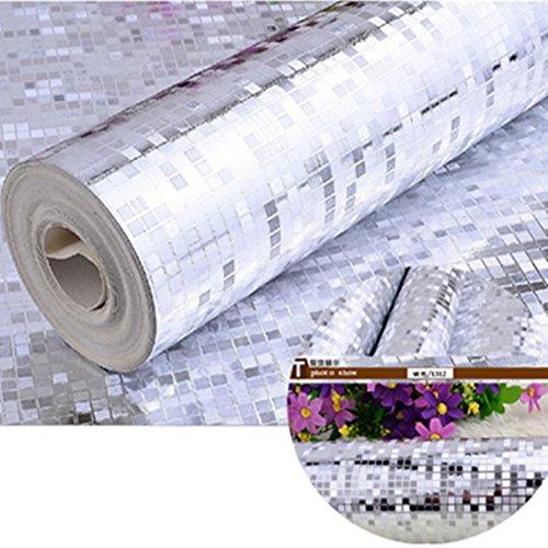 Preisvergleich Produktbild Folie Tapete Mosaik Mini Luxus Silber Wand Dekor Fliesen PVC (32.8x1.738 Ft) für TV Wand / Sofa Badezimmer Wasserdicht Hintergrund Wand Dekor Wandbilder In Rolle