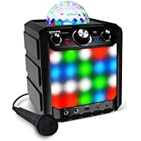 ION Audio Party Rocker Express | Battery Powered 40W Portable Bluetooth Party Speaker System & Karaoke Centre with Dome Party Light Display, LED Light Grille & Microphone