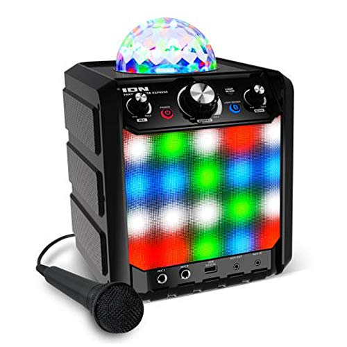 Ion Party Rocker Express Bluetooth Karaoke Partylautsprecher mit LED Light-Show, Mikrofon, Integriertem Echo-Effekt und USB-Anschluss zum Aufladen, Schwarz
