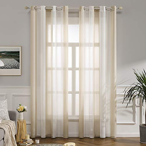 MIULEE Voile Vorhang Transparente Gardine aus Voile mit Ösen Schlaufenschal Ösenschals Transparent Fensterschal Wohnzimmer Schlafzimmer 2er Set 140x245 cm Weiß + Beige
