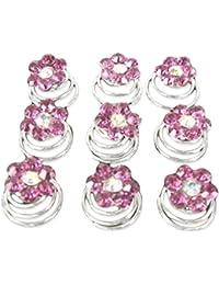 Joyas Ant Symphony Plata Bañada 12unidades novia joyas boda Curlie curlies espirales pelo joyas flores cristal rosa Rose