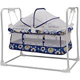 STEPUPP Newborn Baby LittleNest Bassinet Cradle With Mosquito Net-Canopy And Wheels Recommened For Cradle For Baby With Net And Swing Kids Cradle Baby Cradle Mosquito Net Cradle Baby Cradle Jhula Swing ( Blue 028)