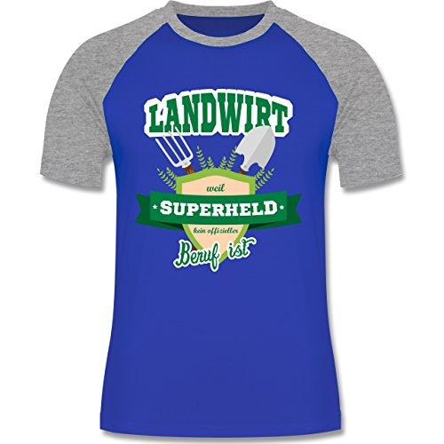 Landwirt - Landwirt - weil Superheld kein offizieller Beruf ist - zweifarbiges Baseballshirt für Männer Royalblau/Grau meliert