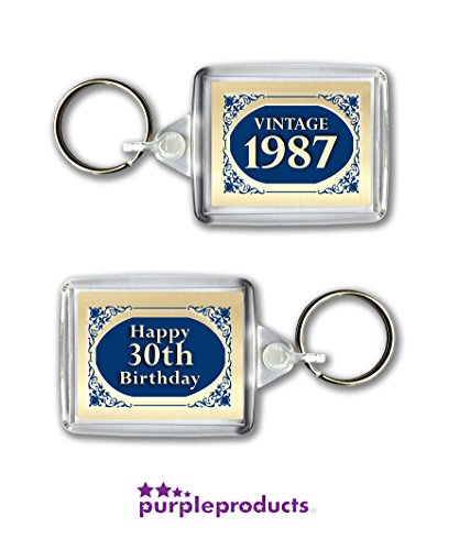 1987 Blue Vintage Happy 30th Birthday Keyring Celebration Gift