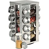 12 pcs spice rack with glass jars and stainless steel rotating stand