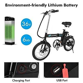 ANCHEER Ebike 20 Elektrisches Mountainbike Pedelec Schwarzer Klassiker Für Erwachsene, Rahmen Und 6 Zahnrad