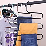Getko With Device 3 Layers Stainless Steel Pant Rack Hangers - Closet Storage for Jeans Trousers, Sarees & Towel Space Saver Storage Pant Rack (Pack of 2)