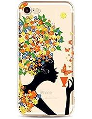 MUTOUREN Apple iPhone 7 Plus funda silicona TPU Ultra-delgado anti-vibración resistencia a la caída shell Teléfono Case Cover Caso moda iPhone 7 Plus shell Soft concha patrón cáscara protectora muchacha del café-tema 08