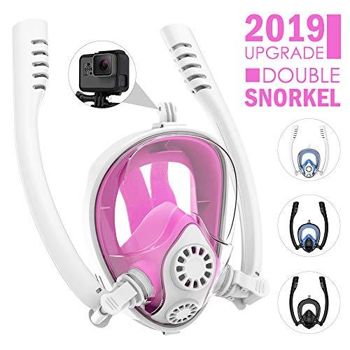 HENGBIRD Masque de Plongée 100% Antibuée sans CO2 avec Deux Tubas Rotatifs à 360° Anti-Fuite Masque Snorkeling Plein Visage 180° avec Support pour Caméra Sport