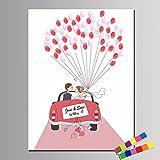 Qiulv Hochzeit Fingerabdruck Unterschrift Segeltuch Kreativ DIY Luftballon Gästebuch Personalisiert Anpassen Anmelden Auto Gemälde Party Geburtstag Geschenk Dekoration,40 * 60Cm