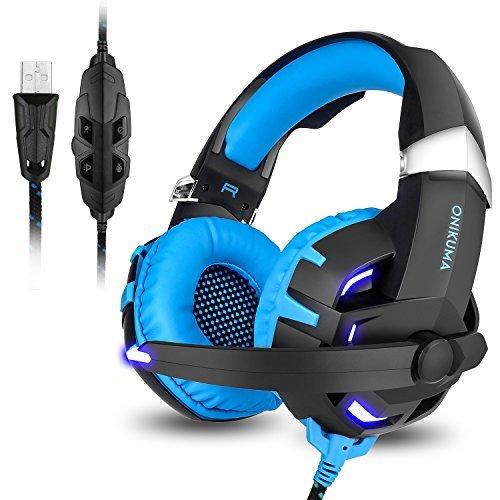 Gaming Headset, 7.1Channel Surround Stereo-Sound USB Wired Over-Ear-Kopfhörer mit Noise Cancelling Mikrofon Separate Lautstärkeregler LED Licht für PC MAC Laptop Computer (schwarz blau) 4 Kanal Active Video