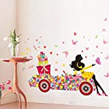YBFQ Princesses Fleurs Filles Don De Voiture Vous Pouvez Retirer Le Pays Auto Adhésives Murs Décorés De Canapés De Style Background Autocollant Mural 60*90cm...