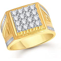 Meenaz Gold Plated American Diamond Crystal Cz Ring For Men, Size -24