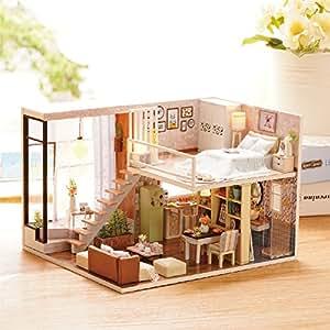mini diy puppenhaus miniatur puppenstube holz mit licht und musik geschenk f r geburtstag und. Black Bedroom Furniture Sets. Home Design Ideas