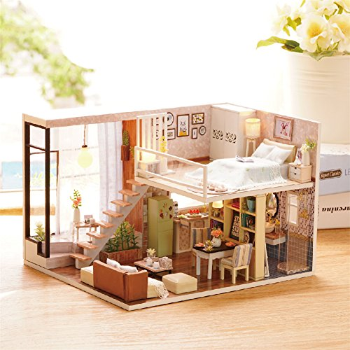 DIY Wooden DollHouse, Villa Quiet Time Model Handcraft Miniature Kit with Music box for Birthday Xmas Gift