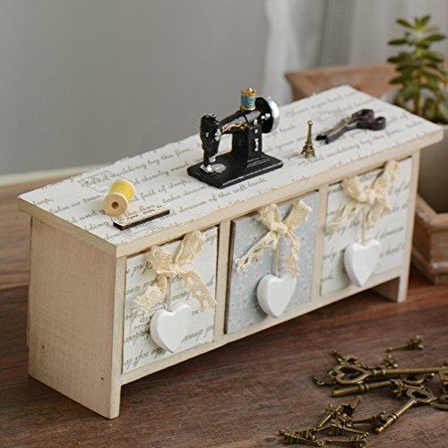 scatola di immagazzinaggio retrò piccolo resina floreale cucito cassetto in legno stile country tre griglia