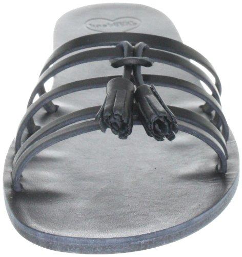 Swedish Hasbeens Tassel Sandal Flat 006, Sandali donna Nero (Schwarz (Black/Black))