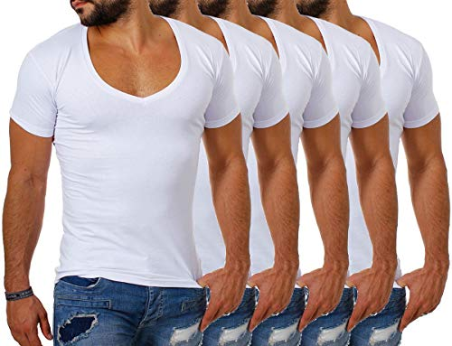 Young&Rich / Rerock Herren Uni T-Shirt mit extra tiefem V-Ausschnitt Slimfit deep V-Neck Stretch dehnbar Einfarbiges Basic Shirt, Grösse:XL, Farbe:Weiß - 5 Stück V-neck Training