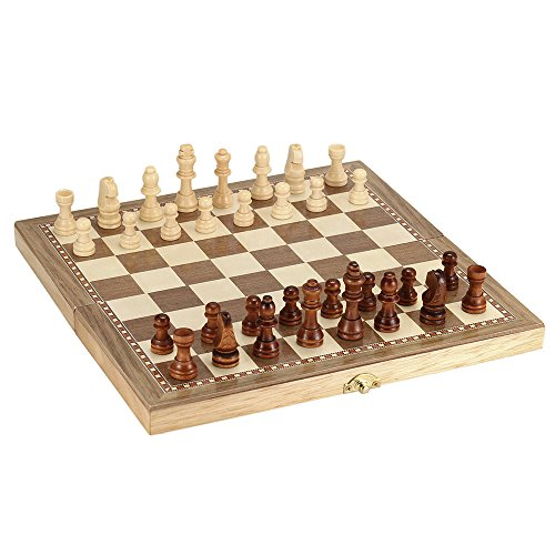 Hykis Holz-Schachspiel International Chess faltbare Backgammon Set Entertainment Spiel Schach-Set mit Klappbrett