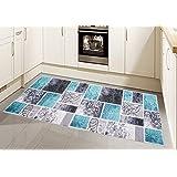 Alfombra moderna, tejido plano, gel-corredores, alfombra cocina, turquesa gris (Traumteppich) Größe 80x150 cm