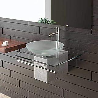 Satinierte Glaswaschschale Ø 46 cm mit Klarglas Waschtischplatte 60 cm und Handtuchhalter Alpenberger®