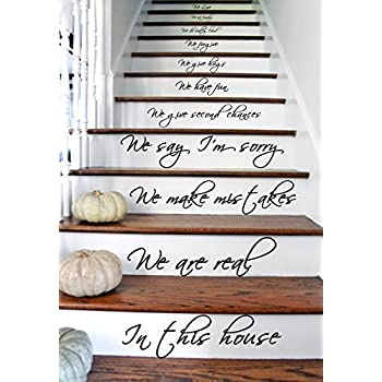 (44x80 cm) In this House We Do We Love, Parole Scritta Citazione Scale O Murale Adesivo Vinile Arte Murale,decalcomania