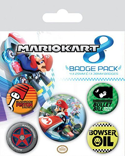 1art1 81015 Super Mario - Kart 8, 1 X 38mm & 4 X 25mm Buttons Button Pack 15 x 10 (Prinzessin Accessoires Peach)