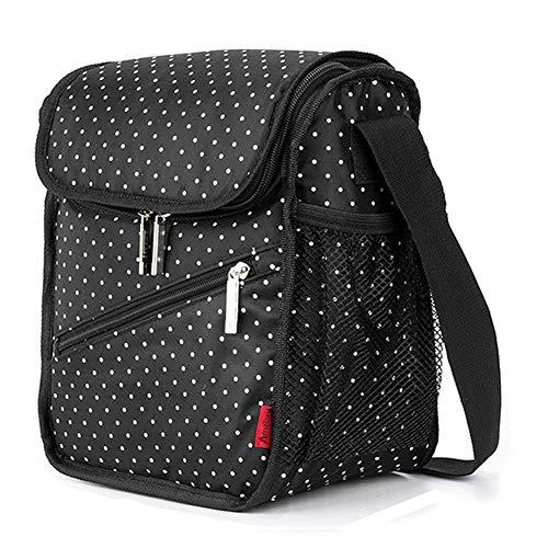 Isolierte Lunch Bag Portable Picknick-Boxen KüHltasche Travel Organizer Wasserdicht,Black