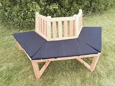 Promadino 1/2 Baumbank 180° mit Sitzauflagen blau