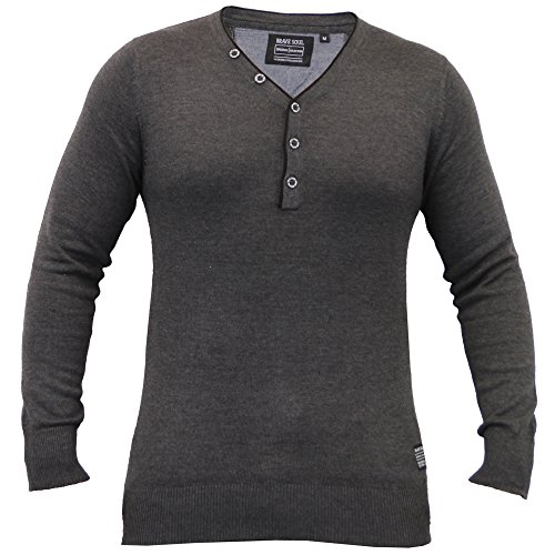 Hommes Pull Tricot Pulls By Brave Soul Col Y Charbon - 230ANGELOB