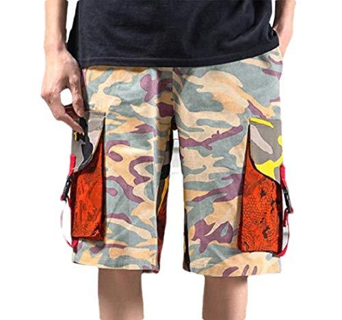 BingSai Herren Cargo-Shorts, lockere Passform, mehrere Taschen, Camouflage Gr. S, 2 -