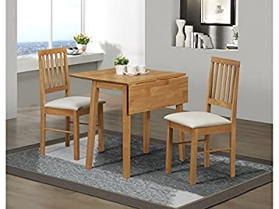 Birlea Drop Leaf Dining Set - Drop Leaf Dining Table & 2 Dining Chairs - Antique Pine