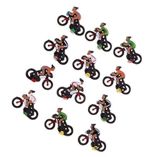 MagiDeal 12pcs Cycliste Modèle Miniature pour Disposition Diy Paysage Table de Sable Echelle Ho 1/87