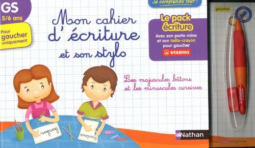 Cahier d'criture - Grande section 5/6 ans : Avec son porte-mine et son taille-crayon pour gaucher