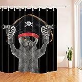 Tier Decor Katze in ein Pirat Kostüm für Kinder Bad Vorhang Polyester-175,3x 177,8cm Schimmelresistent-Dusche Vorhänge Fantastische Dekorationen