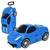 Costway Kids Luggage Hand Shell Suitcase Car Wheeled Trolley Case Bags School Travel New (Blue, 4)