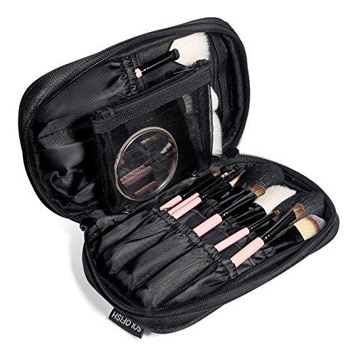 Make up Tasche für Frauen, SOLOFISH Make Up Pinsel Tasche Tragbare Kosmetiktasche leer ohne Inhalt Wasserdicht Schminktasche Schwarz Kosmetik Make-up-Pinsel Organizer mit Tragegriff für Reisen