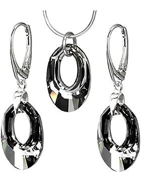 SILVEGO Schickes Set - Ohrringe und Anhänger mit Swarovski® Crystals HELIOS SILVER NIGHT, Silber 925