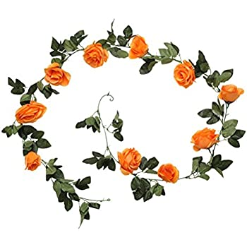 Amazon.de: Rosengirlande Rose Efeu !!!! 23 orangefarbene Blüten ...
