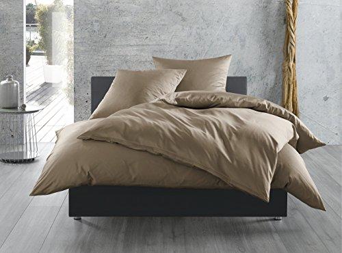 Mako-Satin Baumwollsatin Bettwäsche uni einfarbig zum Kombinieren (135 cm x 200 cm, Braun)