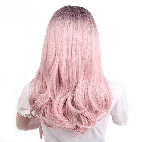 Yuan Damenmode Perücke, Lady Pink Gradient Lange Locken Cosplay - Kostüm Mädchen Mit Dem Braunen Haar