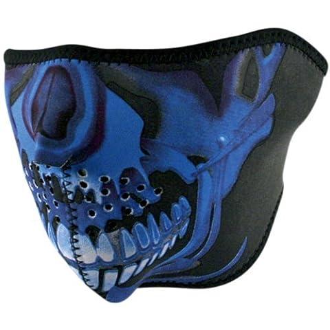 Zan Headgear Blue Chrome Skull Men's Half Face Mask Harley