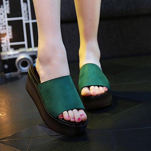 Été des sandales 7cm Chaussons de mode d'été Chaussons de plage extérieurs (Noir / Vert / Rouge) Couleur / taille facultative ( Couleur : Noir , taille : EU40/UK7/CN41 ) Vert
